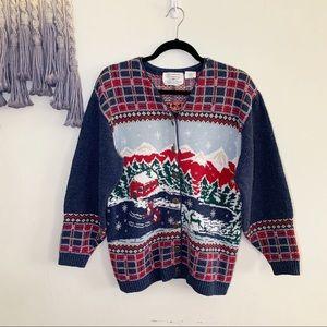 Vintage • winter Christmas scene cardigan sweater